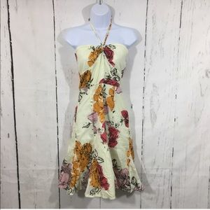 Odille Halter Dress Cream with Flowers
